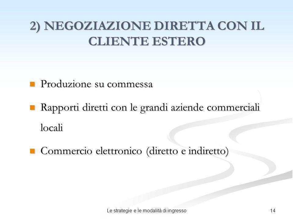 14Le strategie e le modalità di ingresso 2) NEGOZIAZIONE DIRETTA CON IL CLIENTE ESTERO Produzione su commessa Produzione su commessa Rapporti diretti
