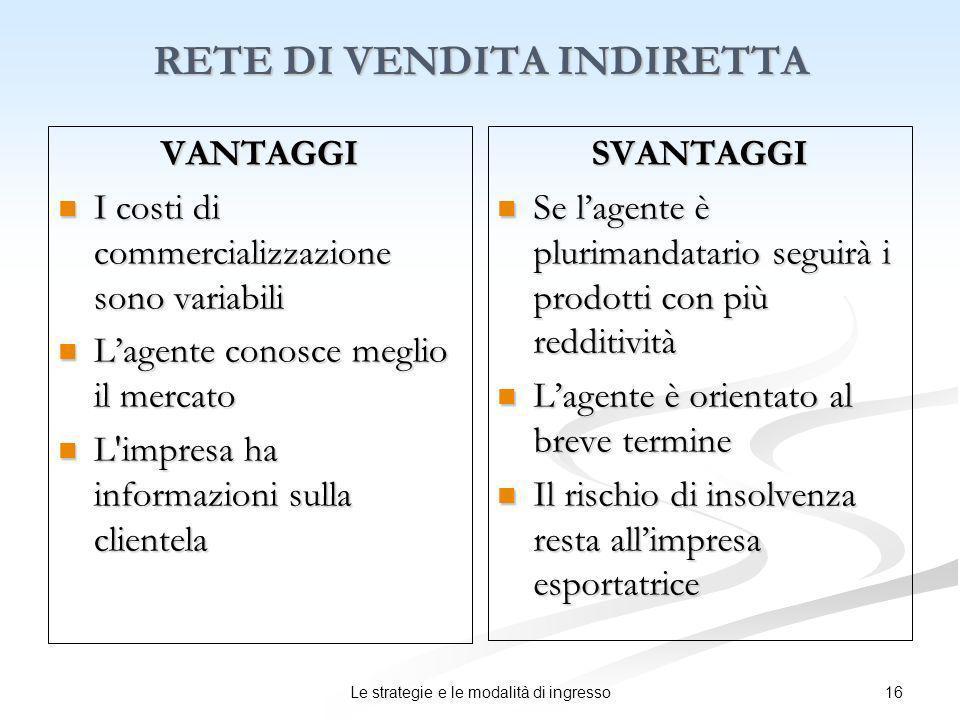 16Le strategie e le modalità di ingresso RETE DI VENDITA INDIRETTA VANTAGGI I costi di commercializzazione sono variabili I costi di commercializzazio
