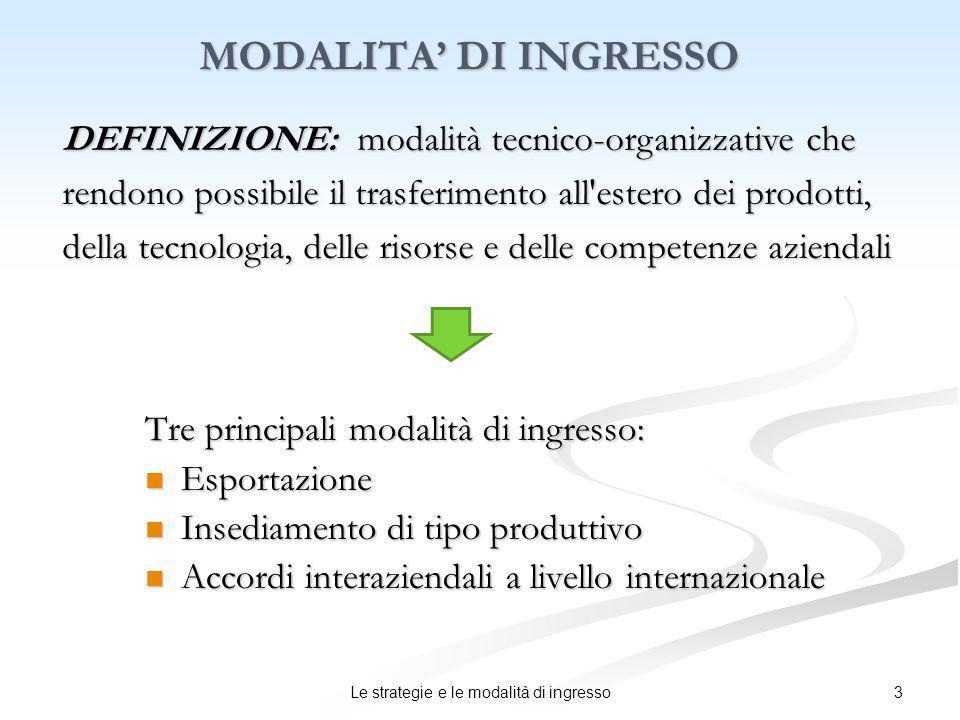 3Le strategie e le modalità di ingresso MODALITA DI INGRESSO Tre principali modalità di ingresso: Esportazione Esportazione Insediamento di tipo produ