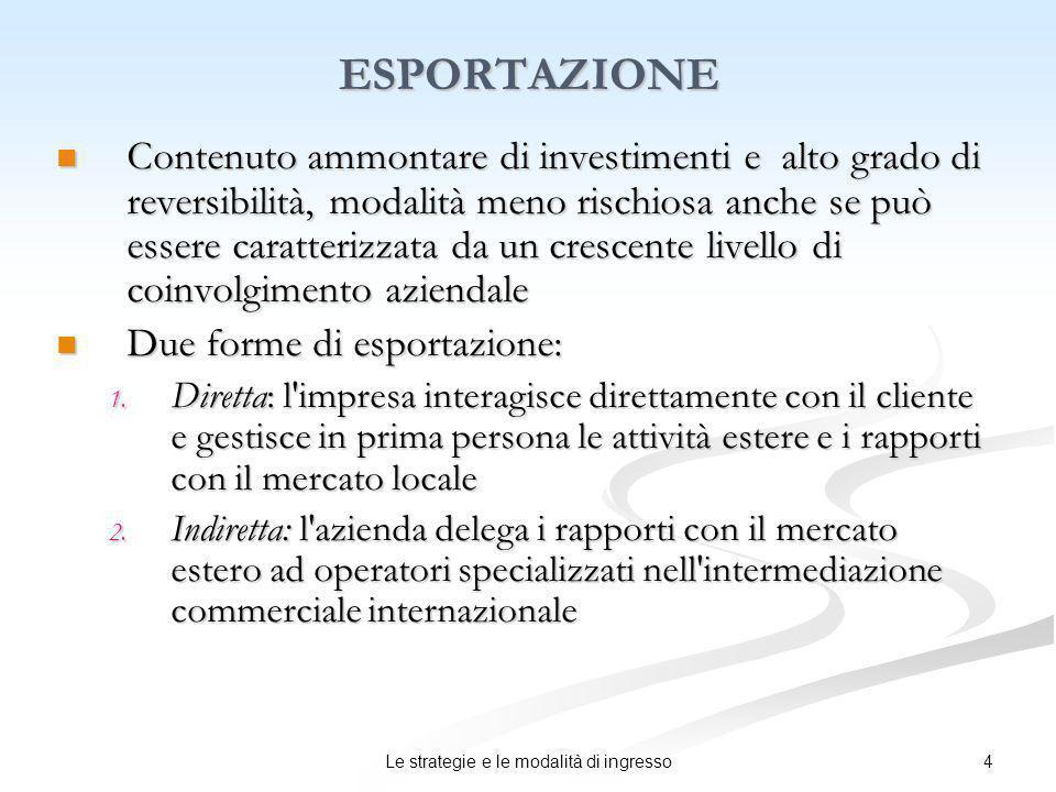 5Le strategie e le modalità di ingresso ESPORTAZIONE INDIRETTA Vantaggi: ridotto impegno di risorse e rischio di investimento.