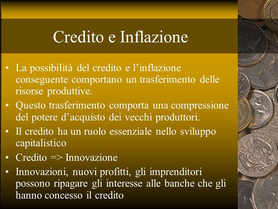 Credito e Inflazione La possibilità del credito e linflazione conseguente comportano un trasferimento delle risorse produttive. Questo trasferimento c