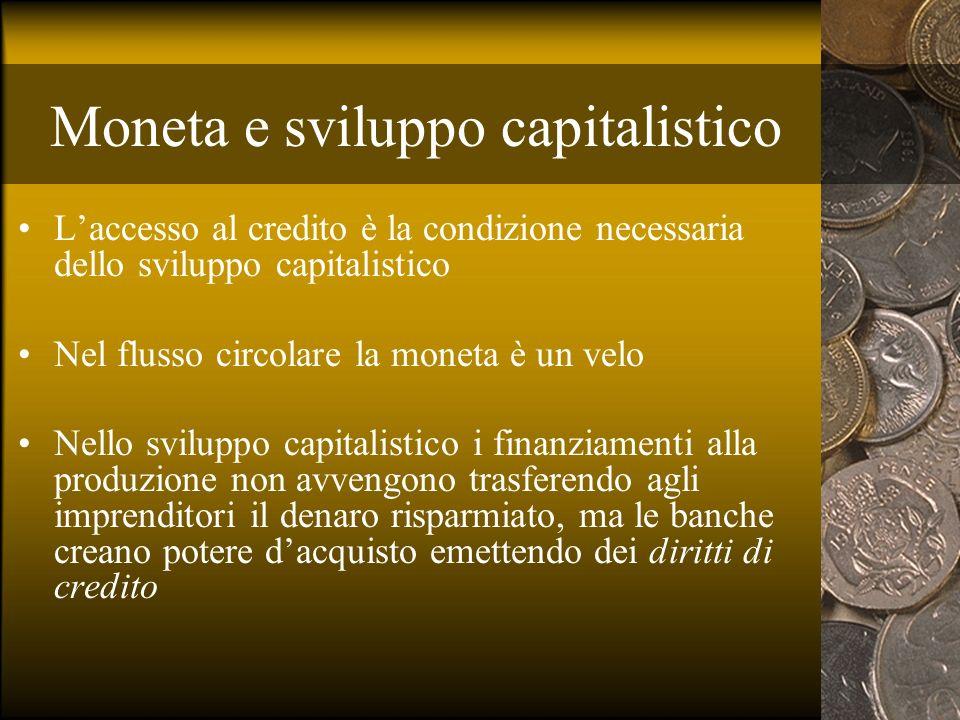 Moneta e sviluppo capitalistico Laccesso al credito è la condizione necessaria dello sviluppo capitalistico Nel flusso circolare la moneta è un velo N