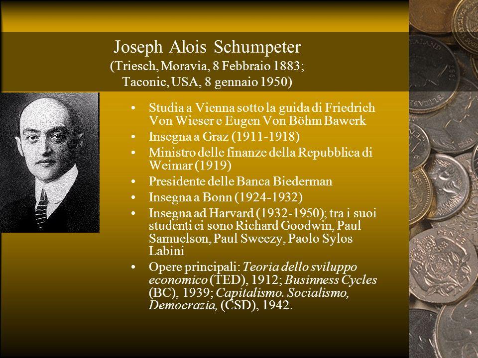 Joseph Alois Schumpeter (Triesch, Moravia, 8 Febbraio 1883; Taconic, USA, 8 gennaio 1950) Studia a Vienna sotto la guida di Friedrich Von Wieser e Eug