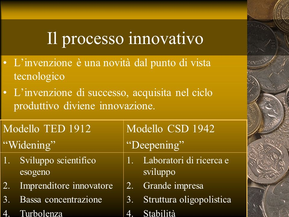 Il processo innovativo Linvenzione è una novità dal punto di vista tecnologico Linvenzione di successo, acquisita nel ciclo produttivo diviene innovaz