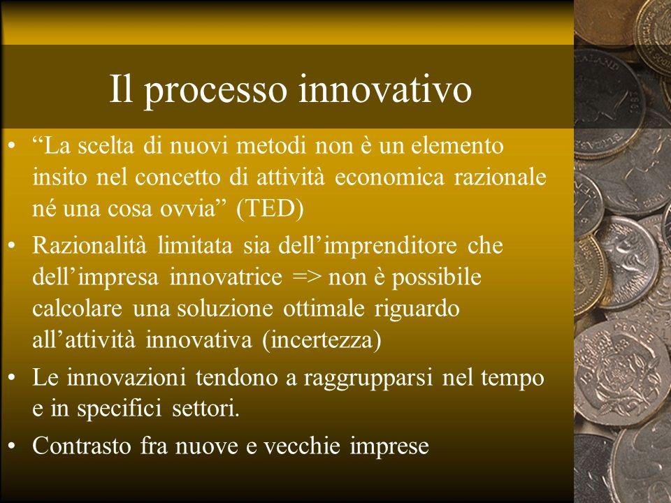 Il processo innovativo La scelta di nuovi metodi non è un elemento insito nel concetto di attività economica razionale né una cosa ovvia (TED) Raziona