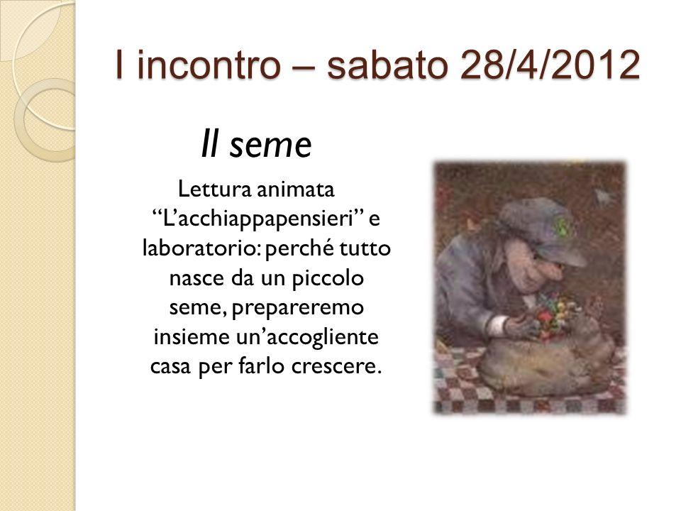 I incontro – sabato 28/4/2012 Il seme Lettura animata Lacchiappapensieri e laboratorio: perché tutto nasce da un piccolo seme, prepareremo insieme una