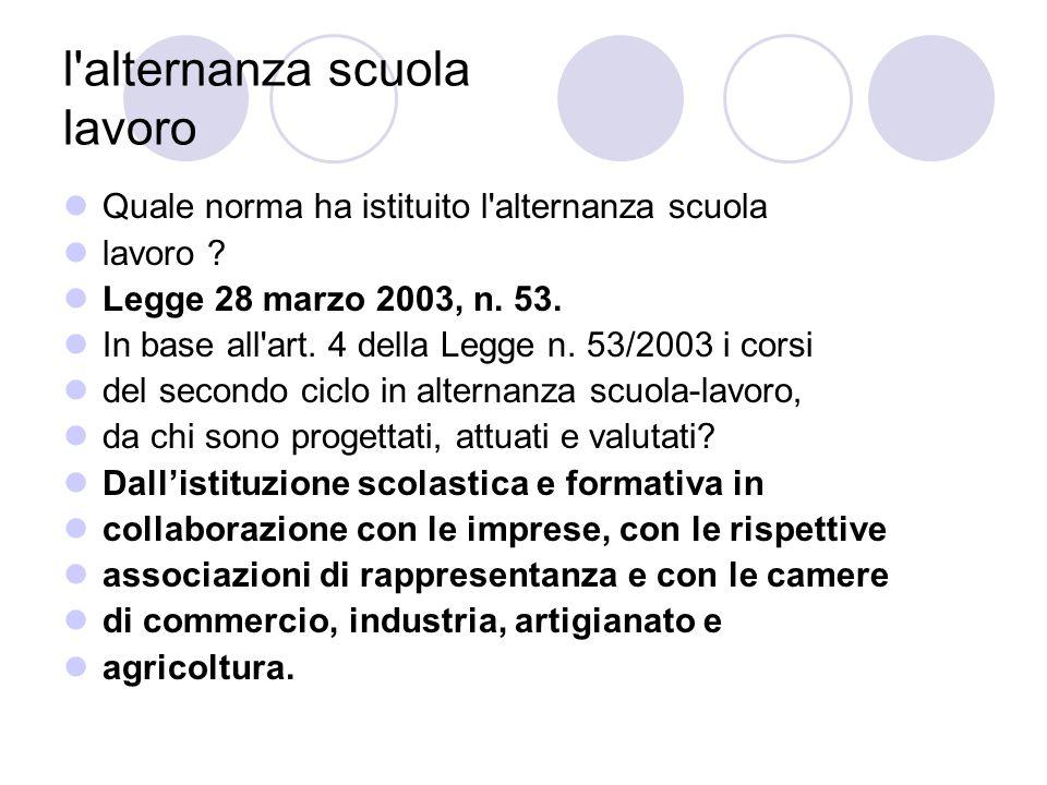 l alternanza scuola lavoro L alternanza, secondo il Decreto legislativo 15 aprile 2005, n.
