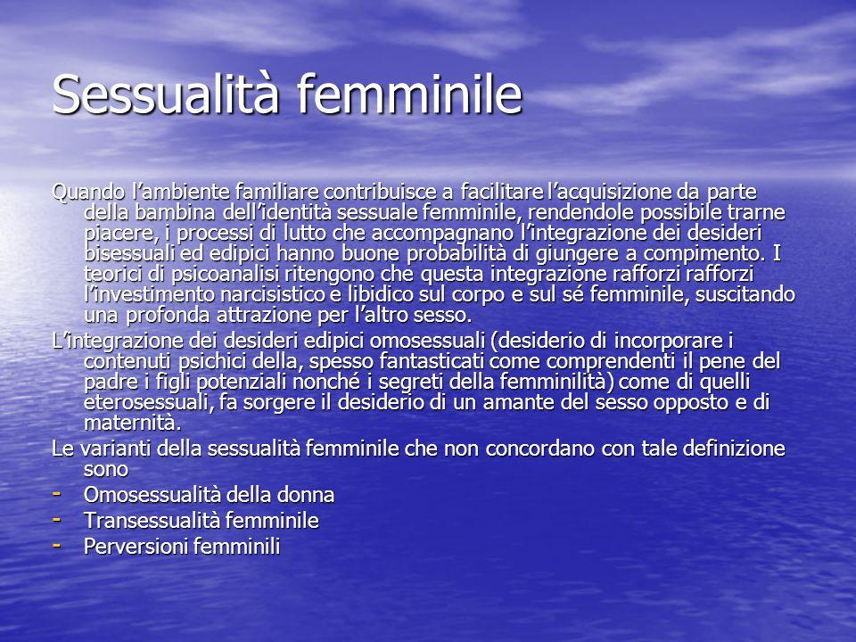 Sessualità femminile Quando lambiente familiare contribuisce a facilitare lacquisizione da parte della bambina dellidentità sessuale femminile, renden