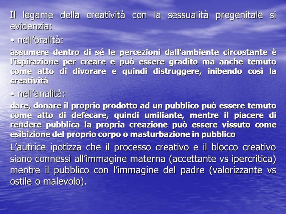 Il legame della creatività con la sessualità pregenitale si evidenzia: nelloralità: nelloralità: assumere dentro di sé le percezioni dallambiente circ