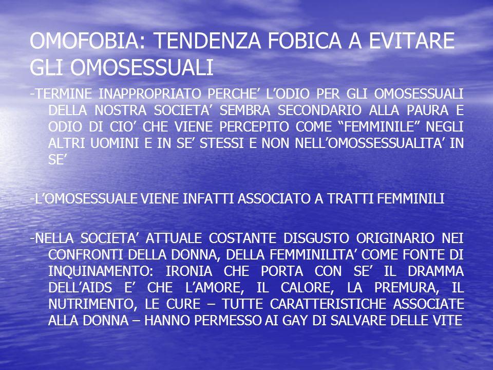 OMOFOBIA: TENDENZA FOBICA A EVITARE GLI OMOSESSUALI -TERMINE INAPPROPRIATO PERCHE LODIO PER GLI OMOSESSUALI DELLA NOSTRA SOCIETA SEMBRA SECONDARIO ALL