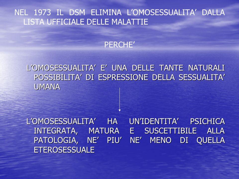 NEL 1973 IL DSM ELIMINA LOMOSESSUALITA DALLA LISTA UFFICIALE DELLE MALATTIE PERCHE LOMOSESSUALITA E UNA DELLE TANTE NATURALI POSSIBILITA DI ESPRESSION