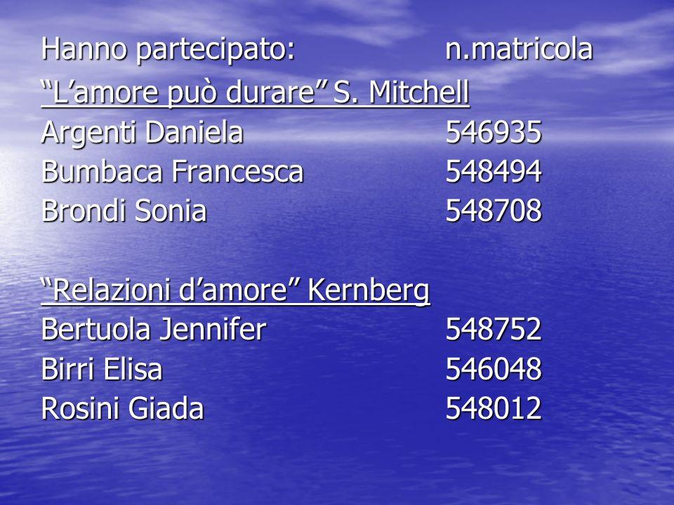 Hanno partecipato:n.matricola Lamore può durare S. Mitchell Argenti Daniela 546935 Bumbaca Francesca548494 Brondi Sonia548708 Relazioni damore Kernber