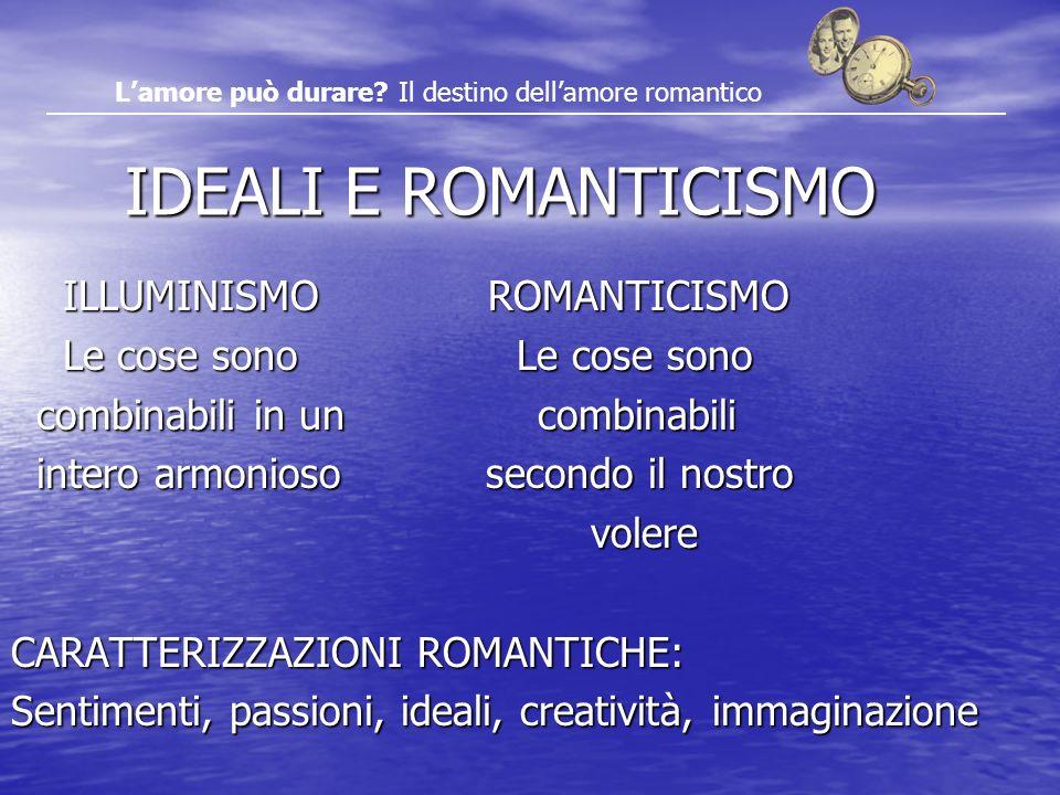 IDEALI E ROMANTICISMO IDEALI E ROMANTICISMO ILLUMINISMO ROMANTICISMO ILLUMINISMO ROMANTICISMO Le cose sono Le cose sono Le cose sono Le cose sono comb