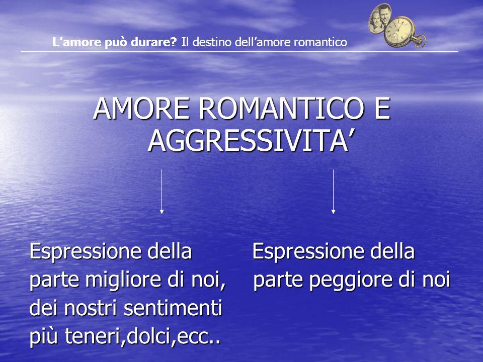 AMORE ROMANTICO E AGGRESSIVITA Espressione della Espressione della parte migliore di noi, parte peggiore di noi dei nostri sentimenti più teneri,dolci