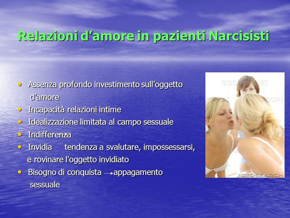 Relazioni damore in pazienti Narcisisti Assenza profondo investimento sulloggetto Assenza profondo investimento sulloggetto damore damore Incapacità r