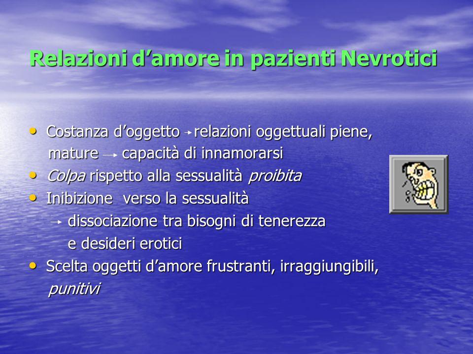 Relazioni damore in pazienti Nevrotici Costanza doggetto relazioni oggettuali piene, Costanza doggetto relazioni oggettuali piene, mature capacità di