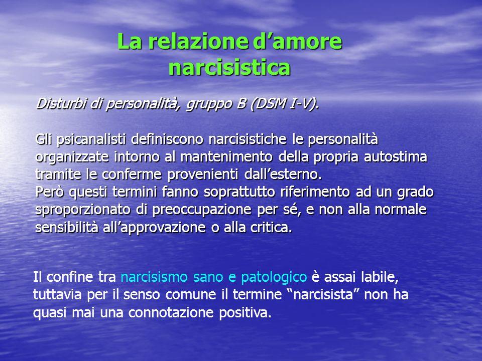 Disturbi di personalità, gruppo B (DSM I-V). Gli psicanalisti definiscono narcisistiche le personalità organizzate intorno al mantenimento della propr