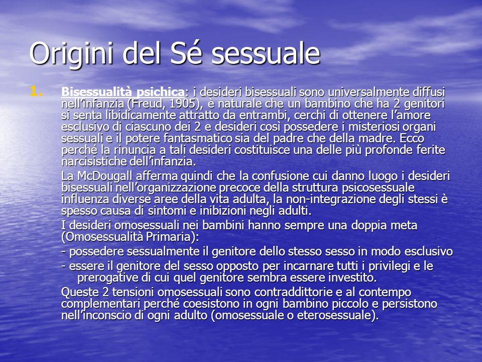 Origini del Sé sessuale 1. : i desideri bisessuali sono universalmente diffusi nellinfanzia (Freud, 1905), è naturale che un bambino che ha 2 genitori