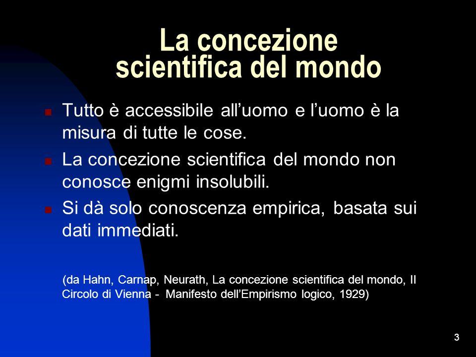 3 La concezione scientifica del mondo Tutto è accessibile alluomo e luomo è la misura di tutte le cose. La concezione scientifica del mondo non conosc