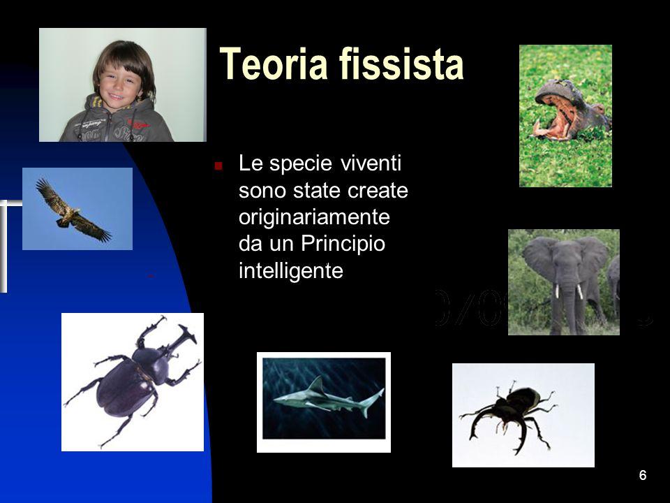 6 Teoria fissista Le specie viventi sono state create originariamente da un Principio intelligente
