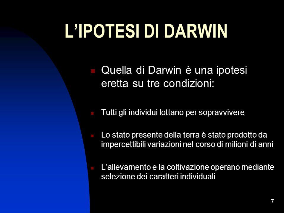 7 LIPOTESI DI DARWIN Quella di Darwin è una ipotesi eretta su tre condizioni: Tutti gli individui lottano per sopravvivere Lo stato presente della ter