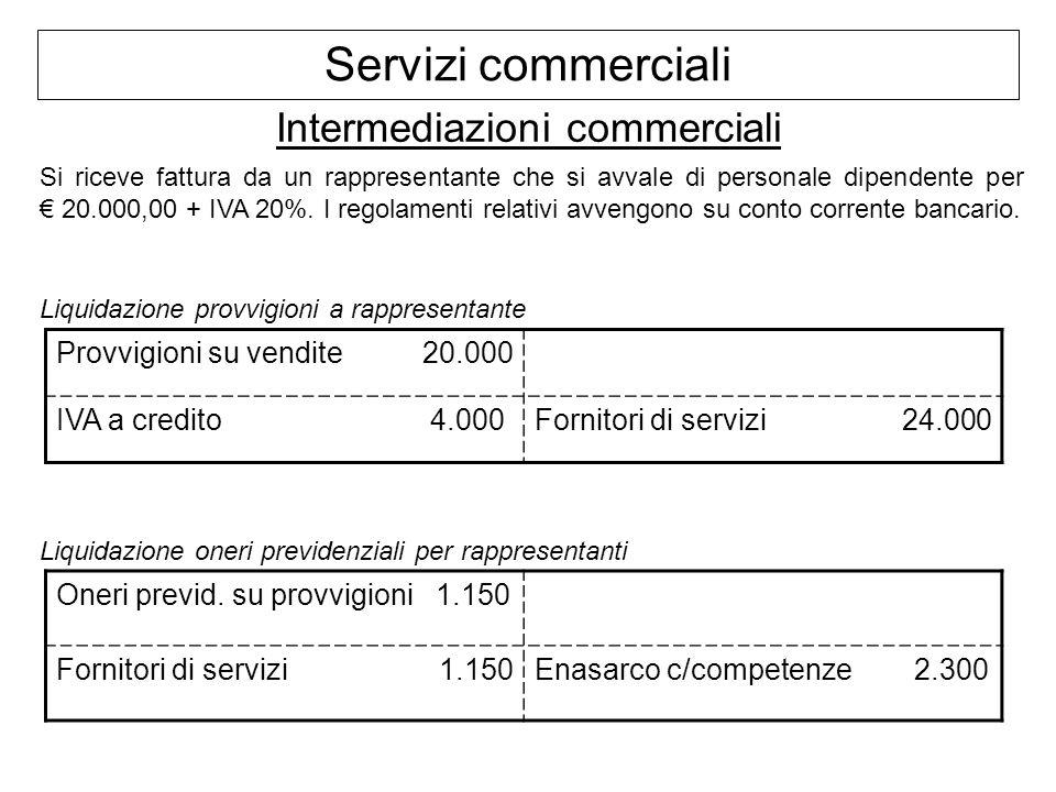 Servizi commerciali Intermediazioni commerciali Si riceve fattura da un rappresentante che si avvale di personale dipendente per 20.000,00 + IVA 20%.