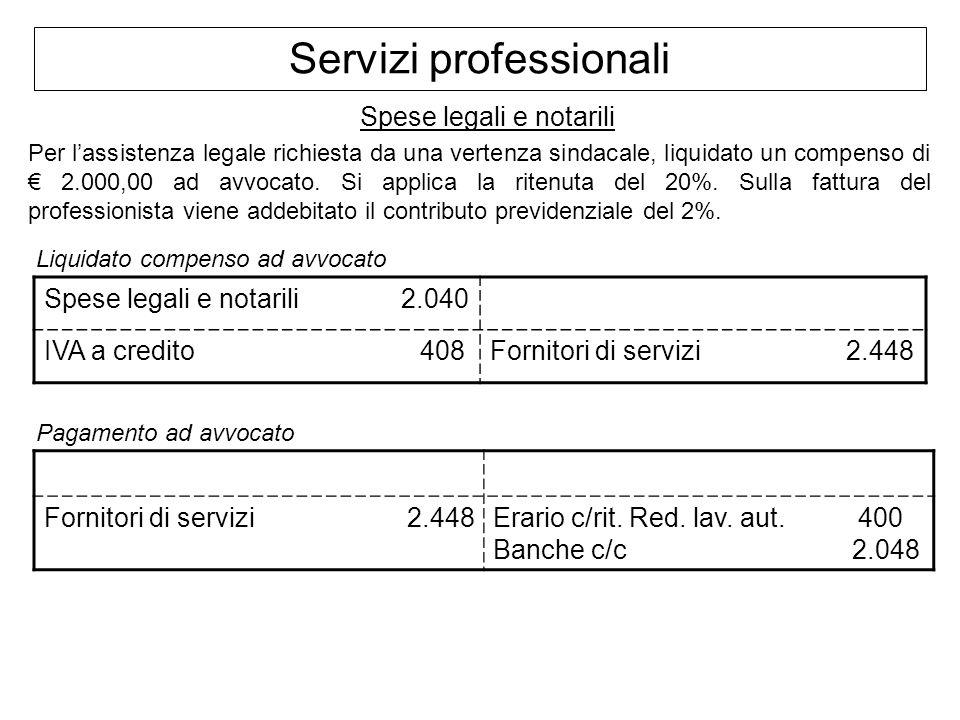 Servizi professionali Spese legali e notarili Per lassistenza legale richiesta da una vertenza sindacale, liquidato un compenso di 2.000,00 ad avvocat