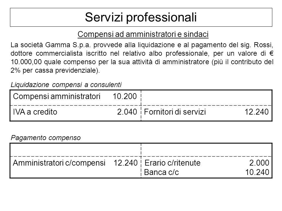 Servizi professionali Compensi ad amministratori e sindaci La società Gamma S.p.a. provvede alla liquidazione e al pagamento del sig. Rossi, dottore c