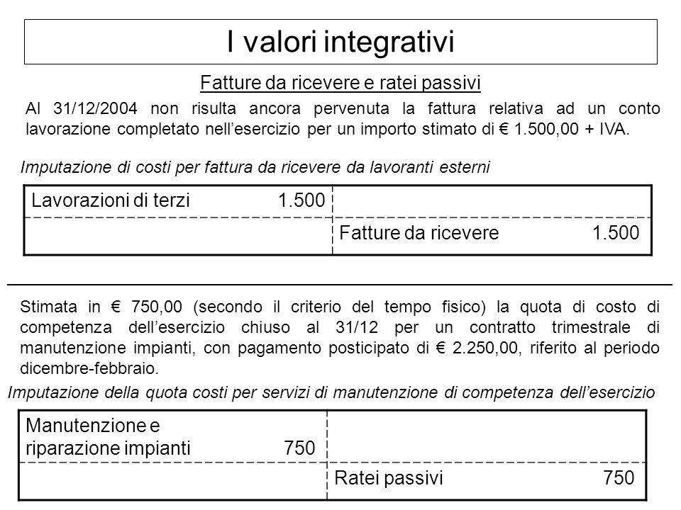 I valori integrativi Fatture da ricevere e ratei passivi Al 31/12/2004 non risulta ancora pervenuta la fattura relativa ad un conto lavorazione comple