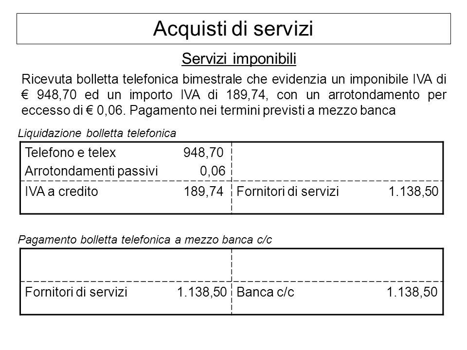 Acquisti di servizi Servizi imponibili Ricevuta bolletta telefonica bimestrale che evidenzia un imponibile IVA di 948,70 ed un importo IVA di 189,74,