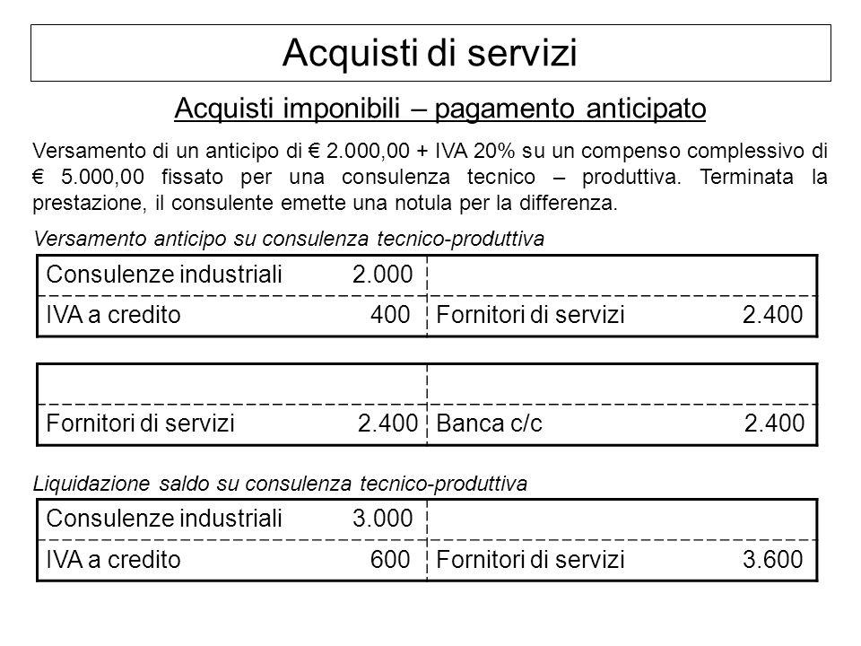 Acquisti di servizi Acquisti imponibili – pagamento anticipato Versamento di un anticipo di 2.000,00 + IVA 20% su un compenso complessivo di 5.000,00