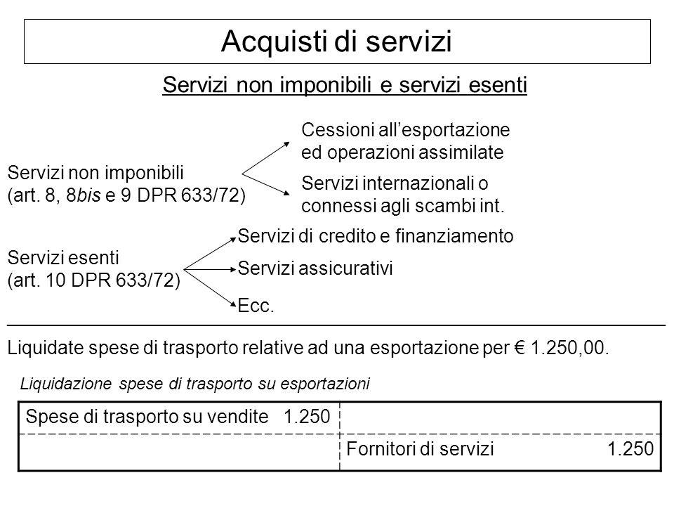 Acquisti di servizi Servizi non imponibili e servizi esenti Servizi non imponibili (art. 8, 8bis e 9 DPR 633/72) Servizi internazionali o connessi agl