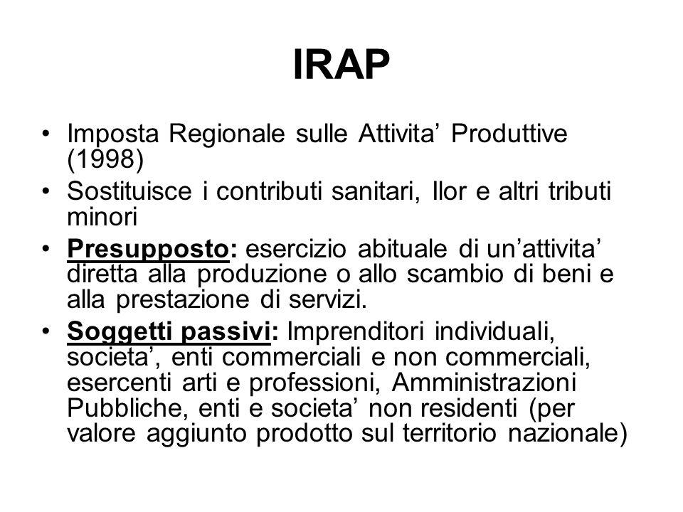 IRAP Imposta Regionale sulle Attivita Produttive (1998) Sostituisce i contributi sanitari, Ilor e altri tributi minori Presupposto: esercizio abituale