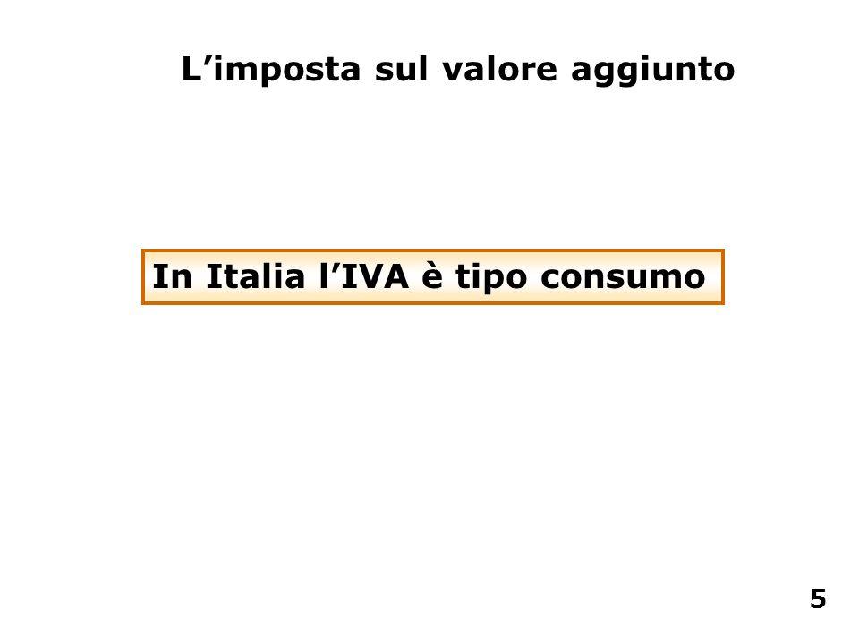In Italia lIVA è tipo consumo Limposta sul valore aggiunto 5