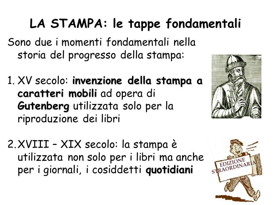 LA STAMPA: le tappe fondamentali Sono due i momenti fondamentali nella storia del progresso della stampa: invenzione della stampa a caratteri mobili G