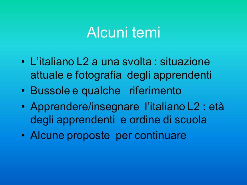 Alcuni temi Litaliano L2 a una svolta : situazione attuale e fotografia degli apprendenti Bussole e qualche riferimento Apprendere/insegnare litaliano