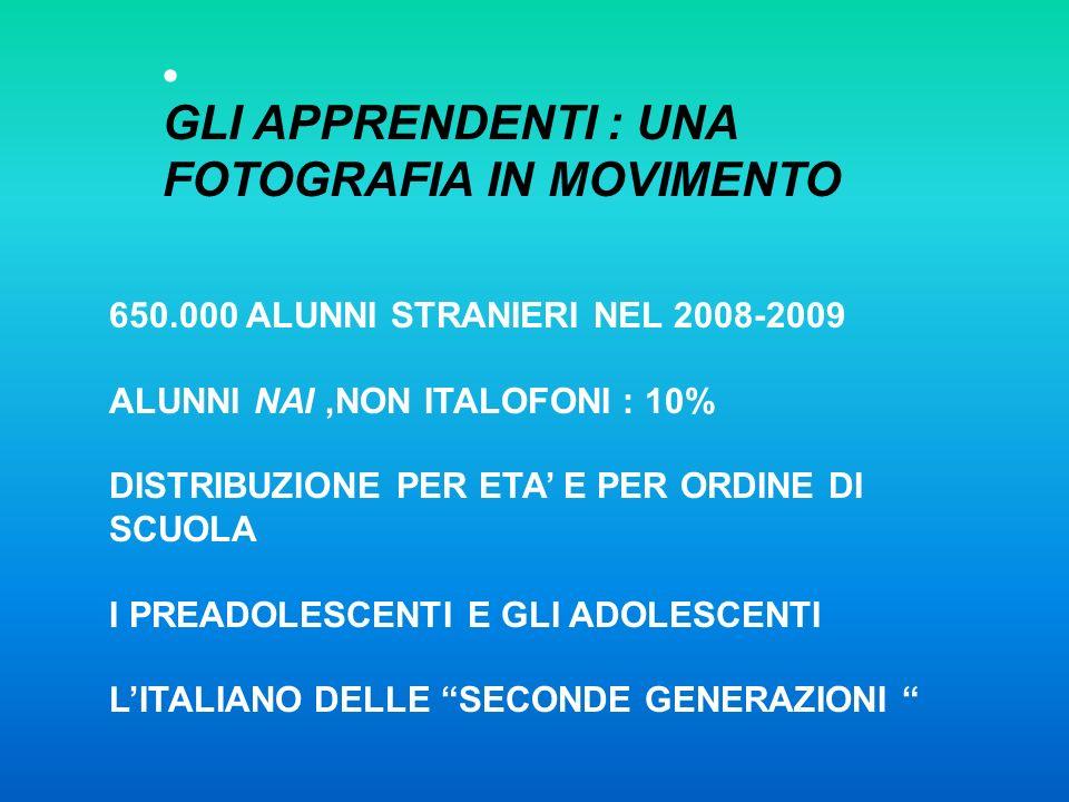 GLI APPRENDENTI : UNA FOTOGRAFIA IN MOVIMENTO 650.000 ALUNNI STRANIERI NEL 2008-2009 ALUNNI NAI,NON ITALOFONI : 10% DISTRIBUZIONE PER ETA E PER ORDINE