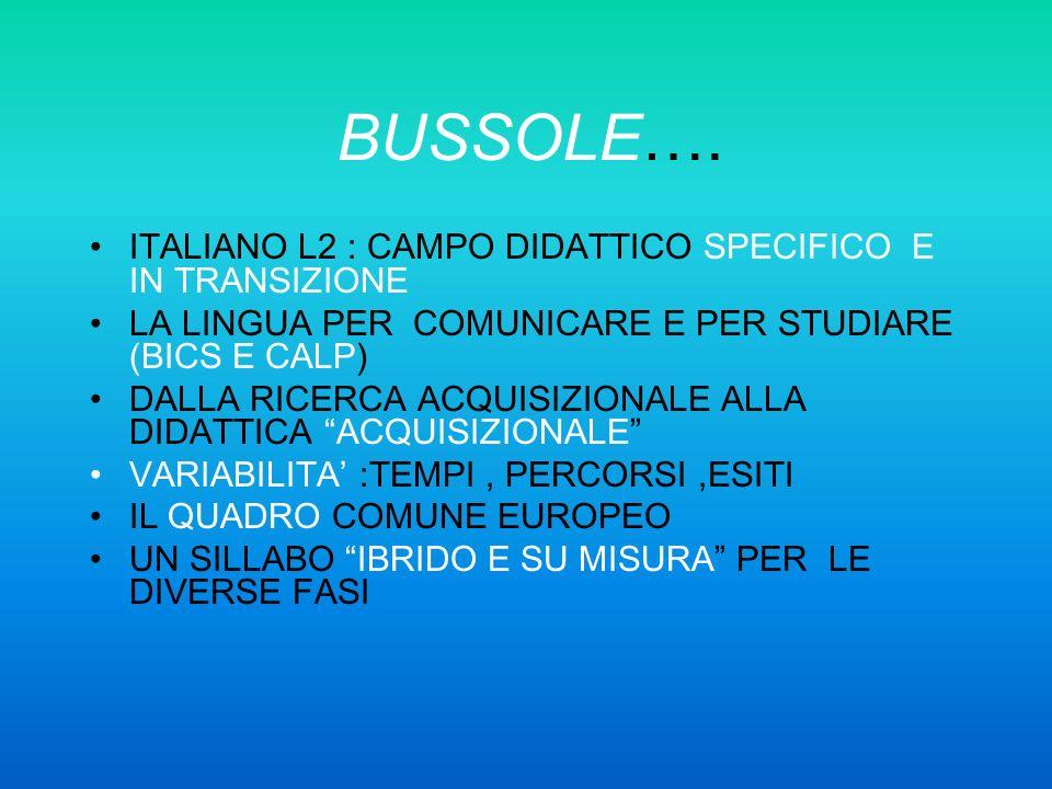 BUSSOLE…. ITALIANO L2 : CAMPO DIDATTICO SPECIFICO E IN TRANSIZIONE LA LINGUA PER COMUNICARE E PER STUDIARE (BICS E CALP) DALLA RICERCA ACQUISIZIONALE