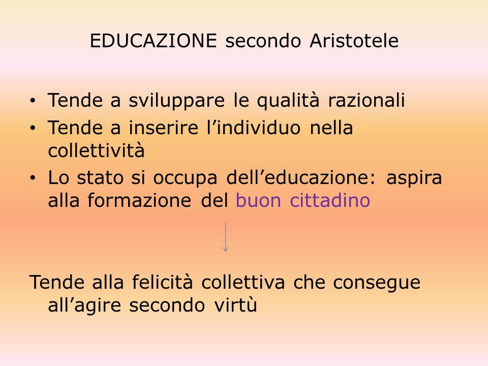 EDUCAZIONE secondo Aristotele Tende a sviluppare le qualità razionali Tende a inserire lindividuo nella collettività Lo stato si occupa delleducazione