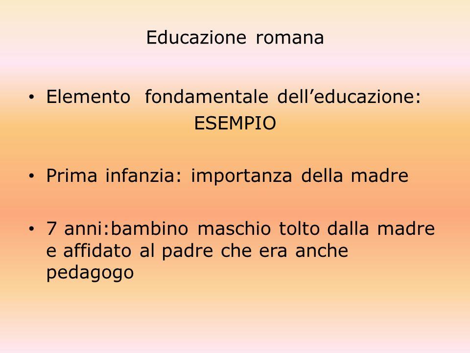 Educazione romana Elemento fondamentale delleducazione: ESEMPIO Prima infanzia: importanza della madre 7 anni:bambino maschio tolto dalla madre e affi