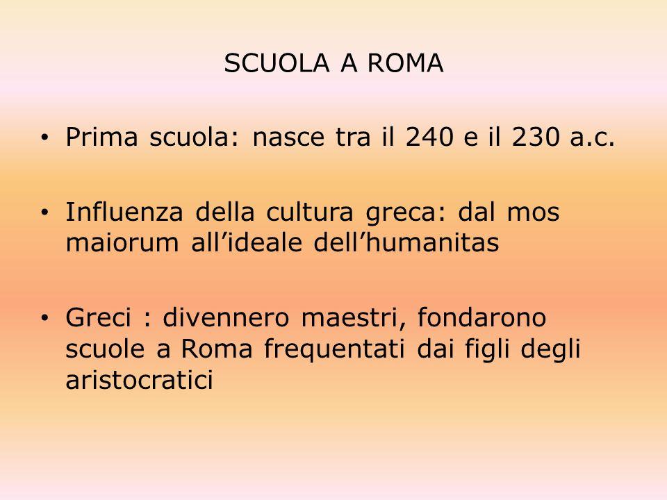 SCUOLA A ROMA Prima scuola: nasce tra il 240 e il 230 a.c. Influenza della cultura greca: dal mos maiorum allideale dellhumanitas Greci : divennero ma