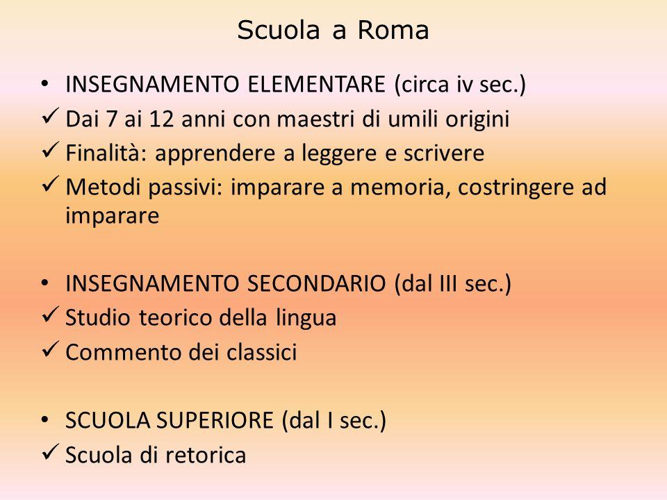 Scuola a Roma INSEGNAMENTO ELEMENTARE (circa iv sec.) Dai 7 ai 12 anni con maestri di umili origini Finalità: apprendere a leggere e scrivere Metodi p