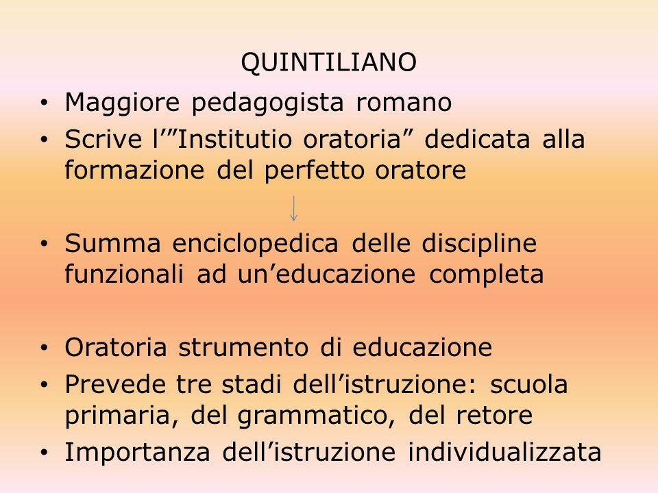 QUINTILIANO Maggiore pedagogista romano Scrive lInstitutio oratoria dedicata alla formazione del perfetto oratore Summa enciclopedica delle discipline