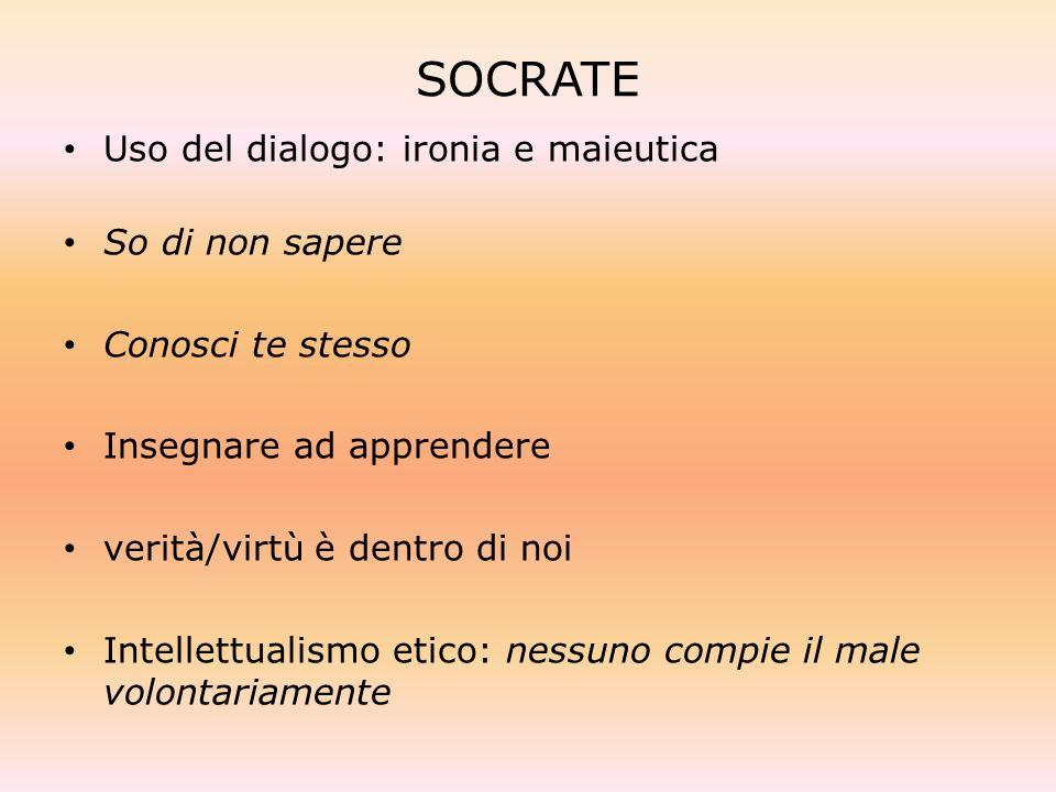 SOCRATE Uso del dialogo: ironia e maieutica So di non sapere Conosci te stesso Insegnare ad apprendere verità/virtù è dentro di noi Intellettualismo e