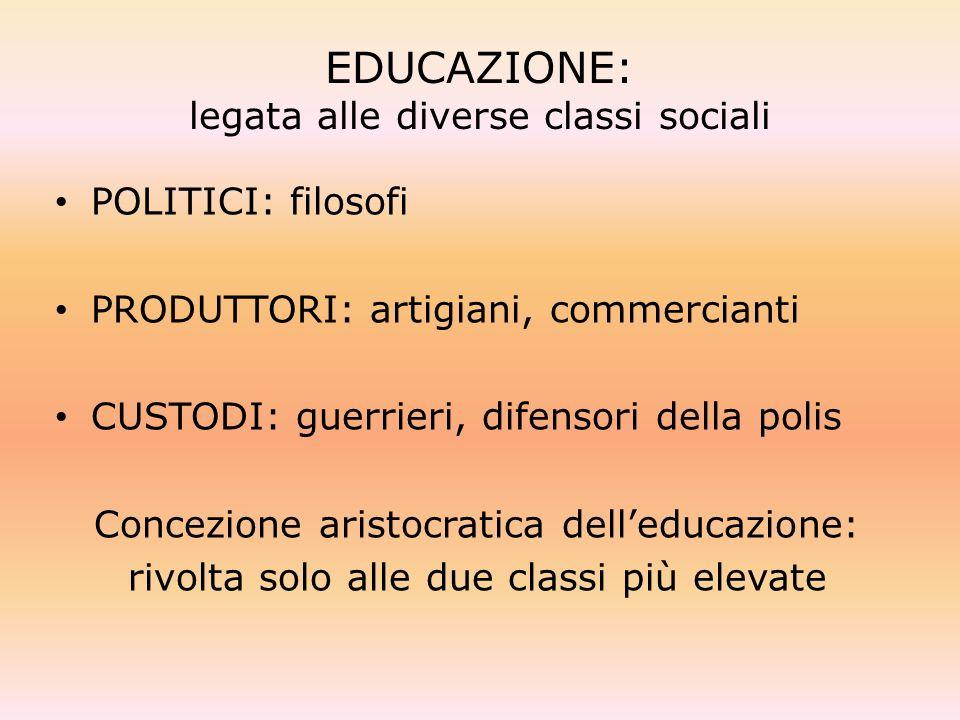 EDUCAZIONE: legata alle diverse classi sociali POLITICI: filosofi PRODUTTORI: artigiani, commercianti CUSTODI: guerrieri, difensori della polis Concez