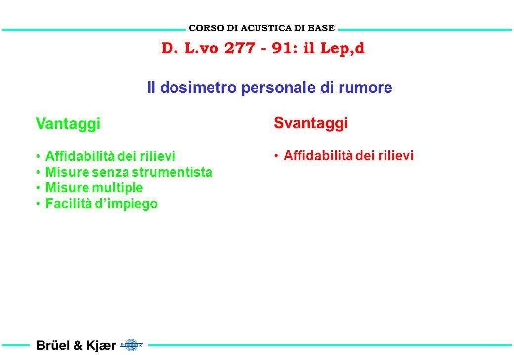 CORSO DI ACUSTICA DI BASE D. L.vo 277 - 91: il Lep,d
