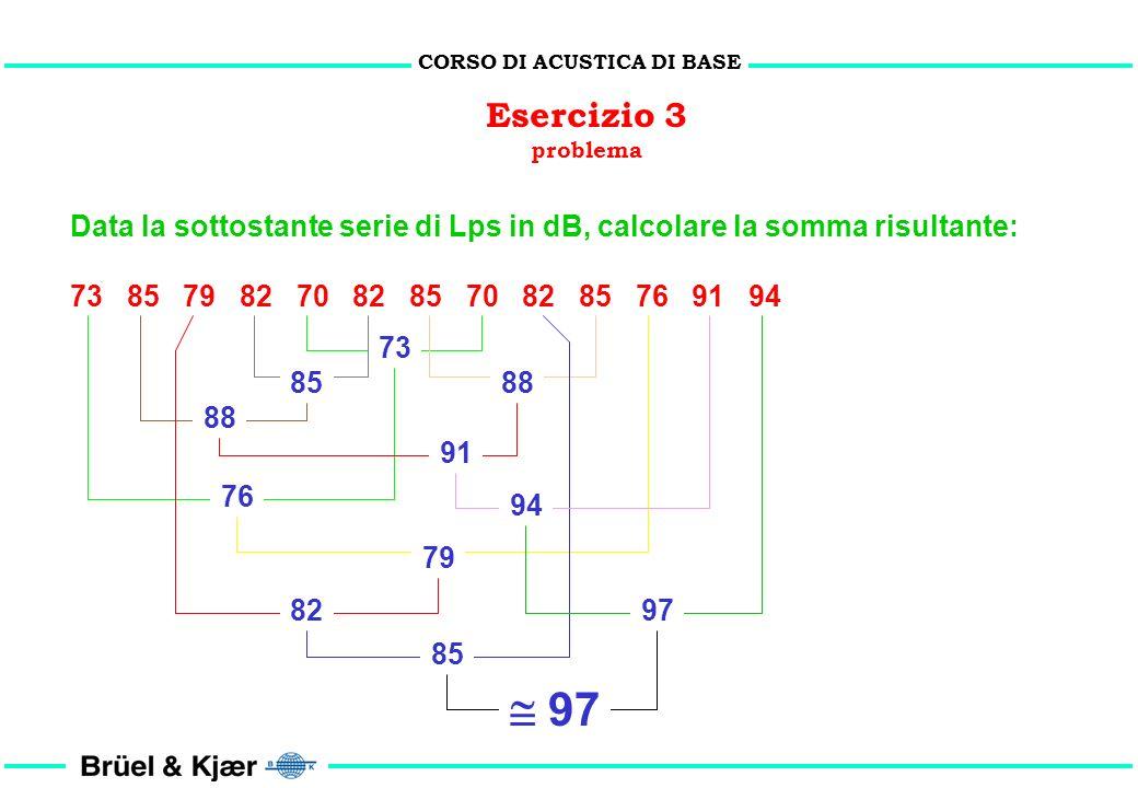 CORSO DI ACUSTICA DI BASE Osservazioni Quando due valori in dB differiscono per più di 10 dB si può considerare trascurabile linfluenza di quello infe