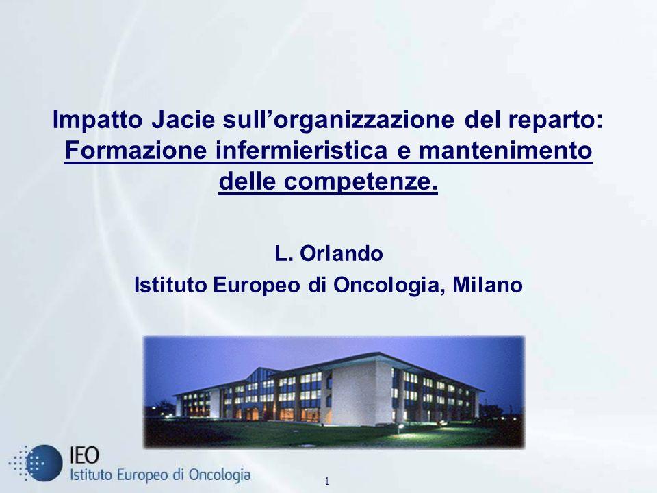 1 Impatto Jacie sullorganizzazione del reparto: Formazione infermieristica e mantenimento delle competenze. L. Orlando Istituto Europeo di Oncologia,