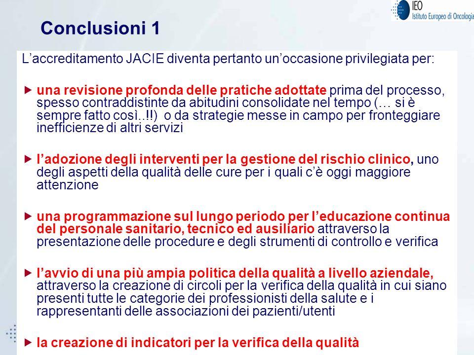 21 Conclusioni 1 Laccreditamento JACIE diventa pertanto unoccasione privilegiata per: una revisione profonda delle pratiche adottate prima del process