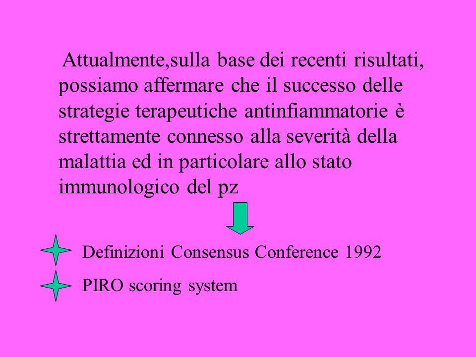Attualmente,sulla base dei recenti risultati, possiamo affermare che il successo delle strategie terapeutiche antinfiammatorie è strettamente connesso alla severità della malattia ed in particolare allo stato immunologico del pz Definizioni Consensus Conference 1992 PIRO scoring system